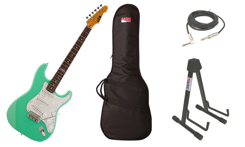 """ESP LTD ST Series ST-213 Alder Body 6 String Rosewood Fingerboard Seafoam Green Electric Guitar with Travel Gig Bag, Stand & 1/4"""" Cable"""