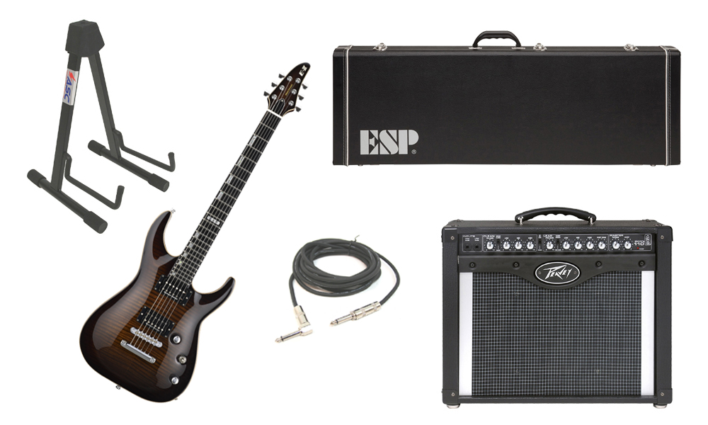 """ESP E-II Horizon Flamed Maple Top 6 String Dark Brown Sunburst Electric Guitar with Peavey Envoy 110 Tube Amp, 1/4"""" Cable & Stand"""