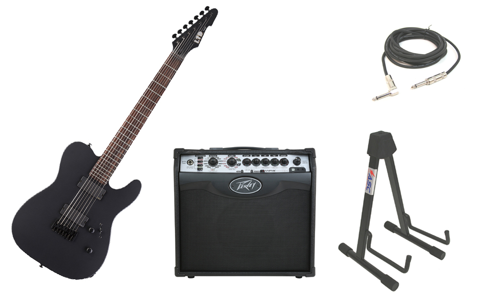 "ESP LTD TE Series TE-407 Mahogany Body 7 String Rosewood Fingerboard Black Satin Electric Guitar with Peavey VIP 1 Modeling Amp, 1/4"" Cable & Stand"