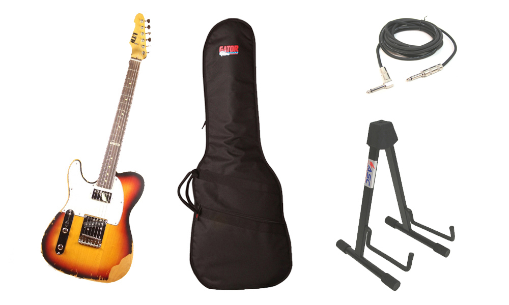 """ESP LTD TE Series TE-202 Alder Body 6 String Rosewood Fingerboard 3 Tone Burst Electric Guitar (Left Hand) with Travel Gig Bag, Stand & 1/4"""" Cable"""