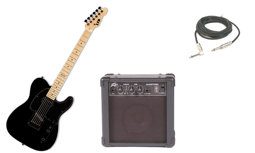 """ESP LTD TE Series TE-212 Alder Body 6 String Maple Fingerboard Black Electric Guitar with Peavey Audition Practice Amp & 1/4"""" Cable"""