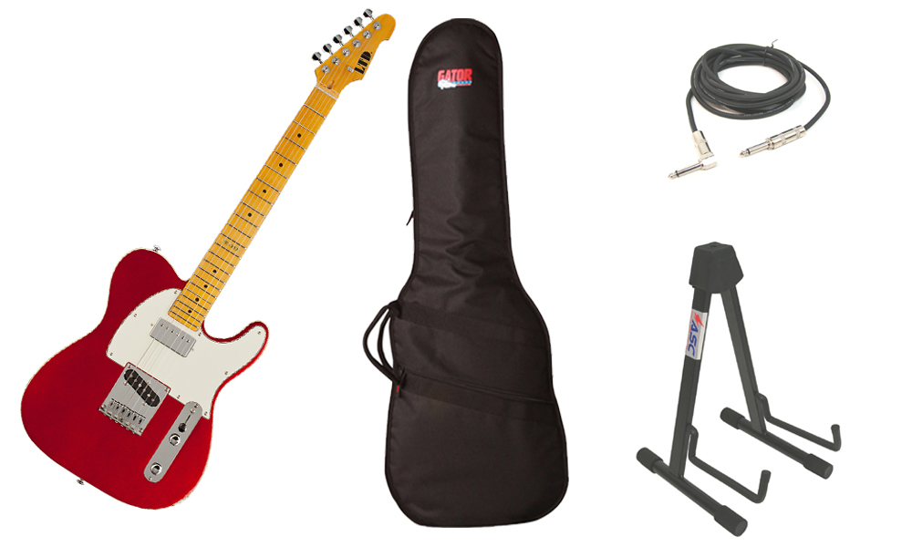 """ESP LTD TE Series TE-212 Alder Body 6 String Maple Fingerboard Candy Apple Red Electric Guitar with Travel Gig Bag, Stand & 1/4"""" Cable"""