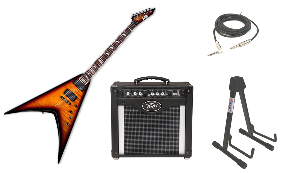 """ESP LTD V Series V-401FM Flamed Maple Top 6 String Rosewood Fingerboard 3 Tone Burst Electric Guitar with Peavey Rage 258 TransTube Amp, 1/4"""" Cable & Stand"""
