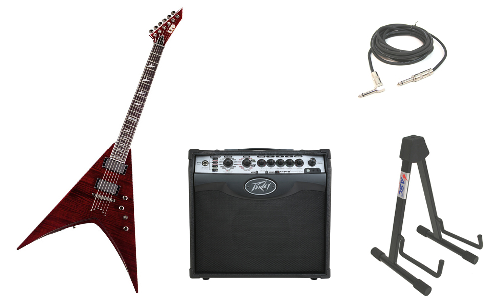 "ESP LTD V Series V-401FM Flamed Maple Top 6 String Rosewood Fingerboard See Through Black Cherry Electric Guitar with Peavey VIP 1 Modeling Amp, 1/4"" Cable & Stand"