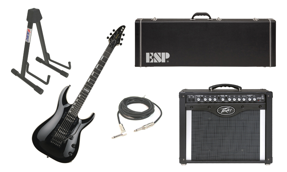 "ESP E-II Horizon Maple Top 6 String Black Electric Guitar with Peavey Envoy 110 Tube Amp, 1/4"" Cable & Stand"