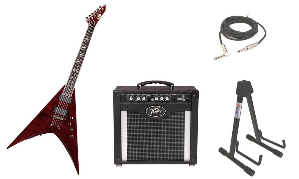 """ESP LTD V Series V-401FM Flamed Maple Top 6 String Rosewood Fingerboard See Through Black Cherry Electric Guitar with Peavey Rage 258 TransTube Amp, 1/4"""" Cable & Stand"""
