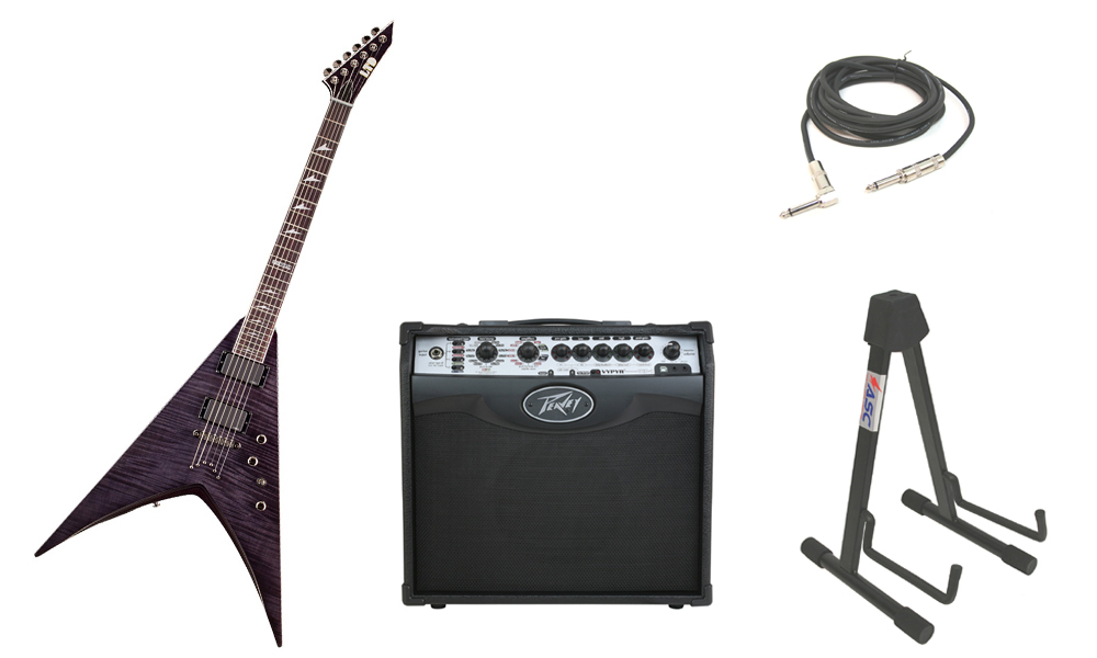 "ESP LTD V Series V-401FM Flamed Maple Top 6 String Rosewood Fingerboard See Through Black Electric Guitar with Peavey VIP 1 Modeling Amp, 1/4"" Cable & Stand"