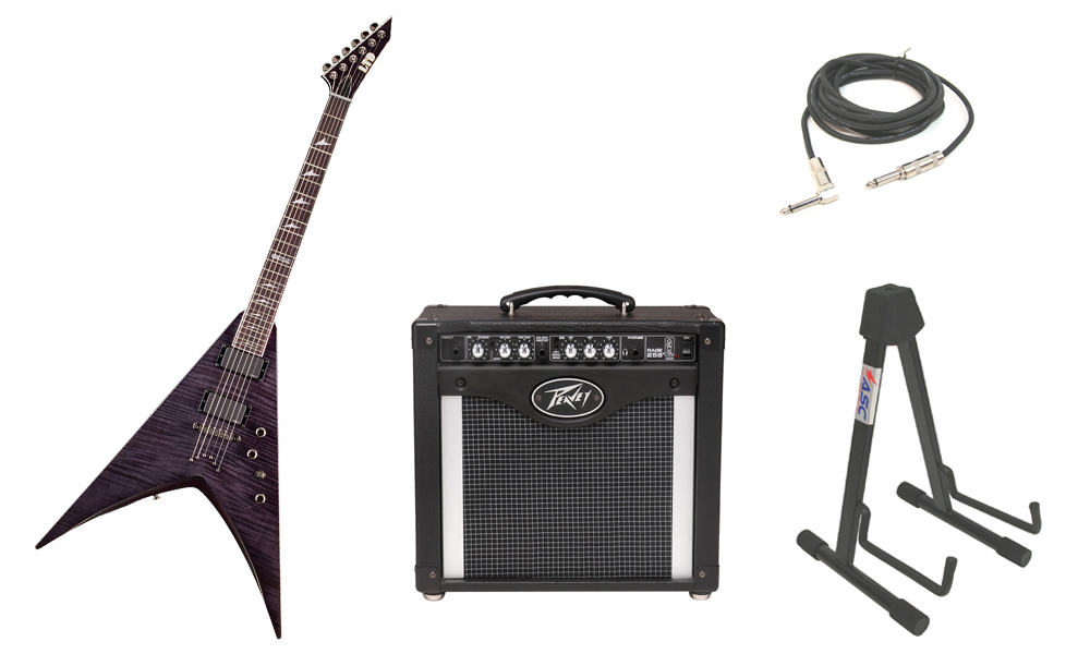 """ESP LTD V Series V-401FM Flamed Maple Top 6 String Rosewood Fingerboard See Through Black Electric Guitar with Peavey Rage 258 TransTube Amp, 1/4"""" Cable & Stand"""