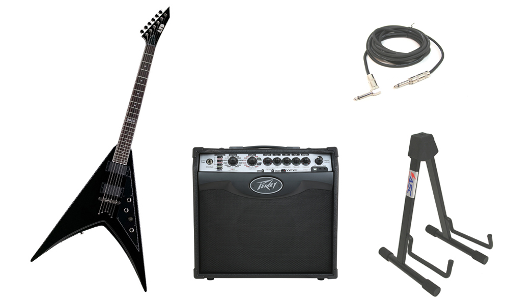 "ESP LTD V Series V-300 Mahogany Body 6 String Rosewood Fingerboard Black Electric Guitar with Peavey VIP 1 Modeling Amp, 1/4"" Cable & Stand"