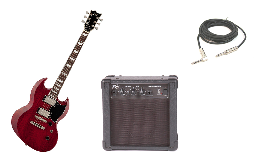 """ESP LTD Viper Series Viper-256 Mahogany Body 6 String Rosewood Fingerboard See Through Black Cherry Electric Guitar with Peavey Audition Practice Amp & 1/4"""" Cable"""