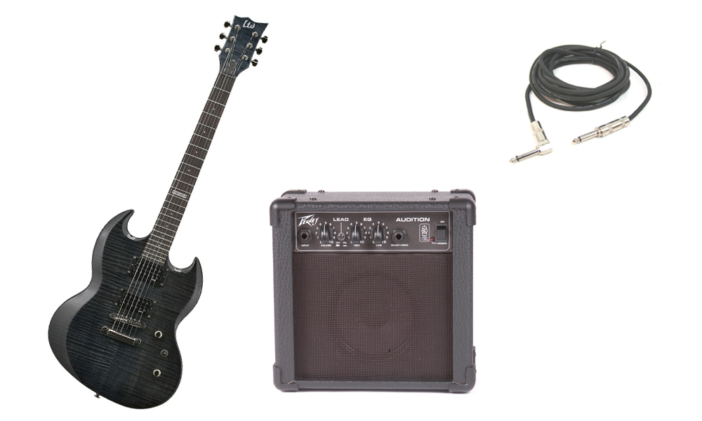 """ESP LTD Viper Series Viper-100FM Flamed Maple 6 String Rosewood Fingerboard See Through Black Electric Guitar with Peavey Audition Practice Amp & 1/4"""" Cable"""