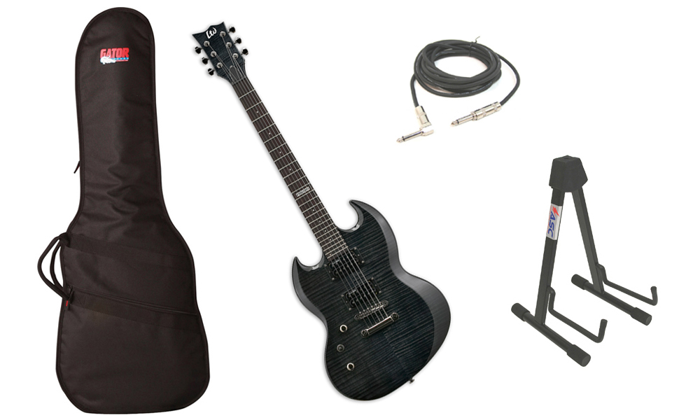 "ESP LTD Viper Series Viper-100FM Flamed Maple 6 String Rosewood Fingerboard See Through Black Electric Guitar (Left Hand) with Travel Gig Bag, Stand & 1/4"" Cable"