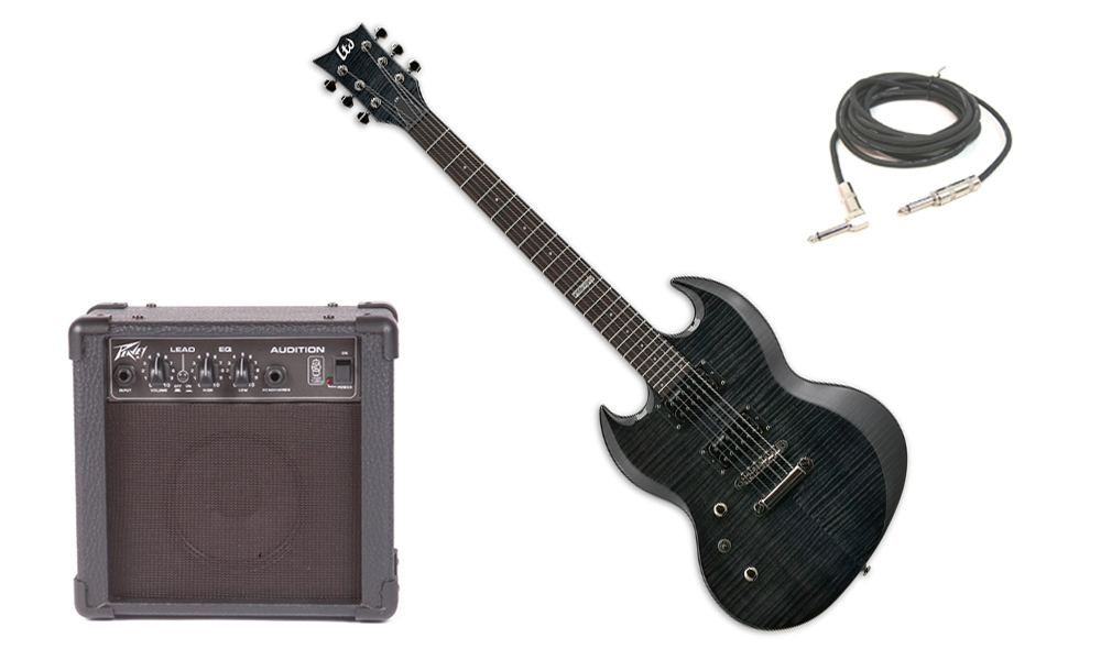 """ESP LTD Viper Series Viper-100FM Flamed Maple 6 String Rosewood Fingerboard See Through Black Electric Guitar (Left Hand) with Peavey Audition Practice Amp & 1/4"""" Cable"""