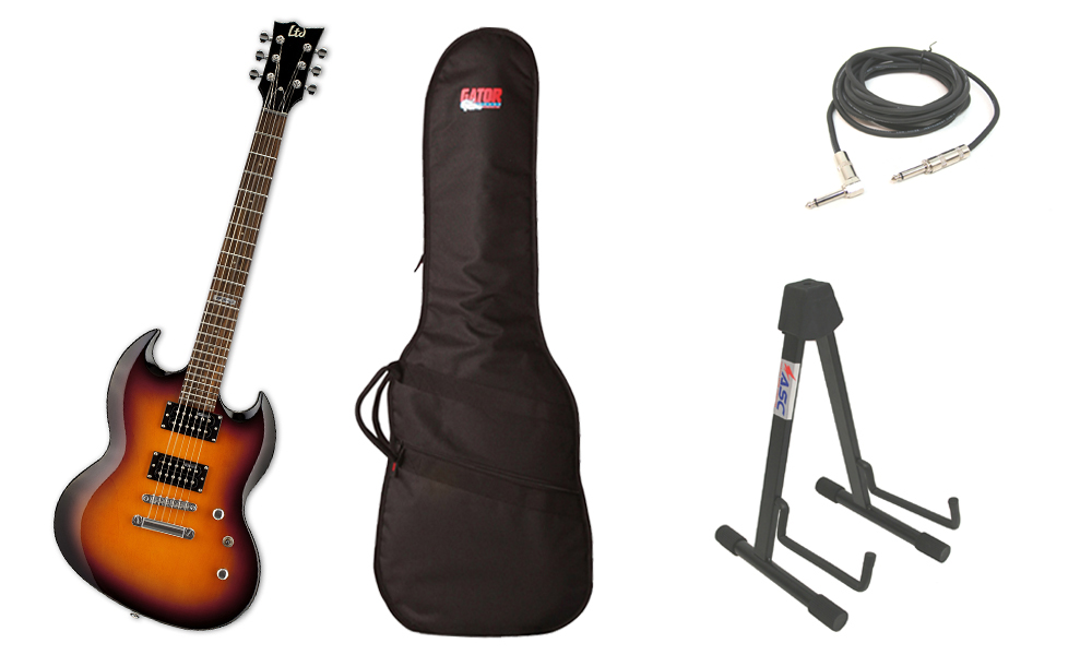 """ESP LTD Viper Series Viper-50 Basswood Body 6 String Rosewood Fingerboard 2 Tone Burst Electric Guitar with Travel Gig Bag, Stand & 1/4"""" Cable"""