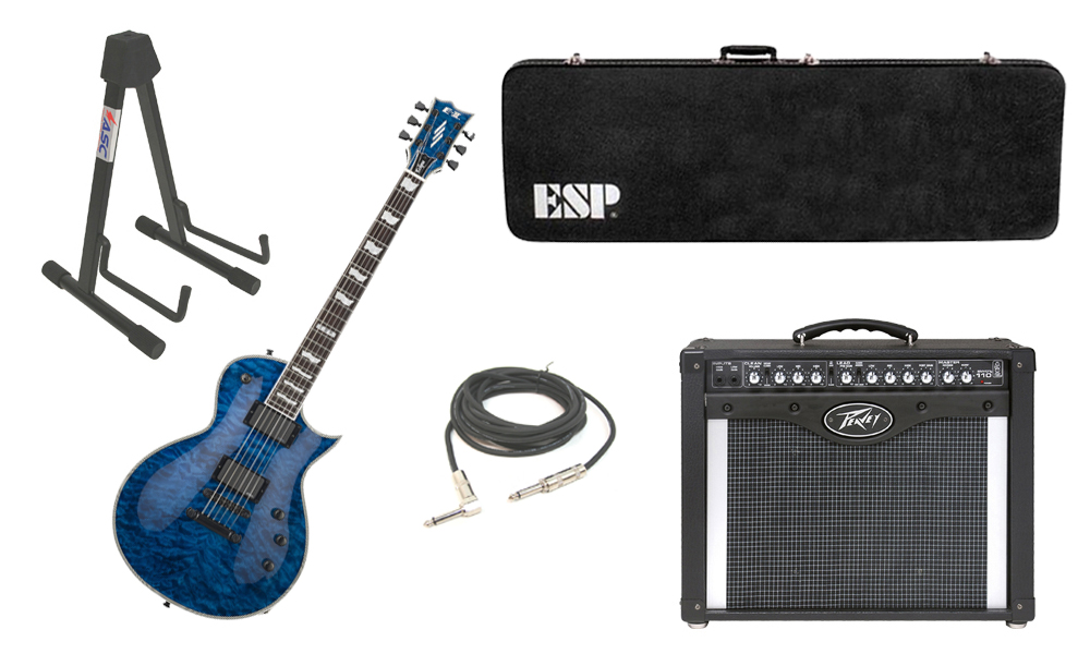 """ESP E-II Eclipse Quilted Maple Top 6 String Marine Blue Electric Guitar with Peavey Envoy 110 Tube Amp, 1/4"""" Cable & Stand"""