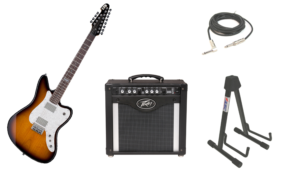 """ESP LTD XJ Series XJ-12 Alder Body 12 String Rosewood Fingerboard 2 Tone Burst Electric Guitar with Peavey Rage 258 TransTube Amp, 1/4"""" Cable & Stand"""