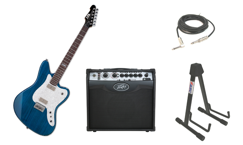 """ESP LTD XJ Series XJ-6 Alder Body 6 String Rosewood Fingerboard See Through Blue Electric Guitar with Peavey VIP 1 Modeling Amp, 1/4"""" Cable & Stand"""