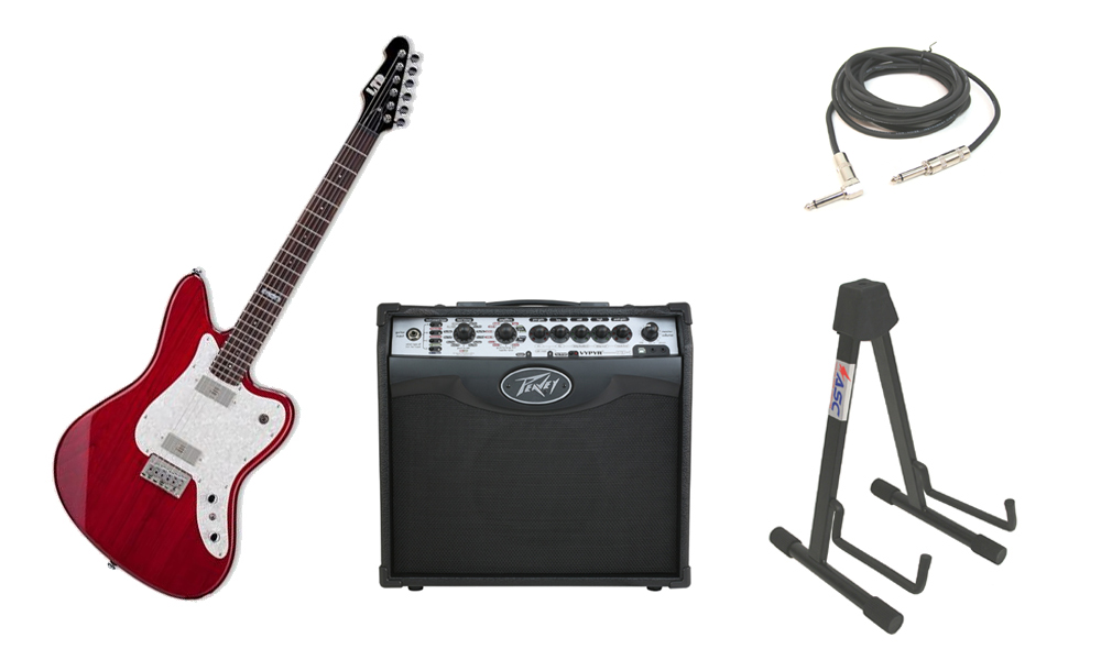 """ESP LTD XJ Series XJ-6 Alder Body 6 String Rosewood Fingerboard See Through Red Electric Guitar with Peavey VIP 1 Modeling Amp, 1/4"""" Cable & Stand"""