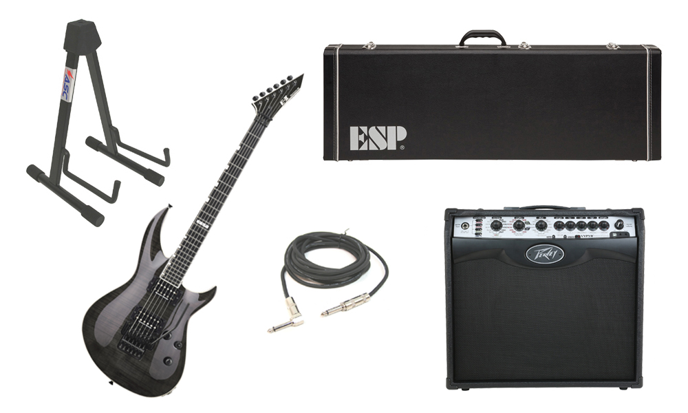 """ESP E-II Horizon-III Flamed Maple Top 6 String See Through Black Electric Guitar with Peavey VIP 2 Modeling Amp, 1/4"""" Cable & Stand"""