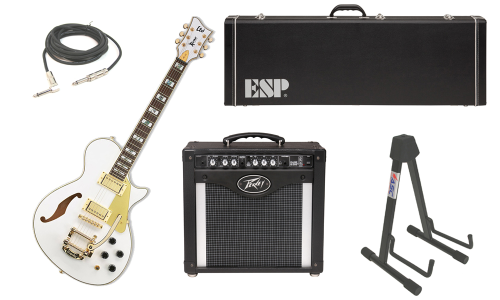 "ESP LTD Xtone Series PC-1V Mahogany Body 6 String Rosewood Fingerboard Pearl White Electric Guitar with Peavey Rage 258 TransTube Amp, 1/4"" Cable & Stand"