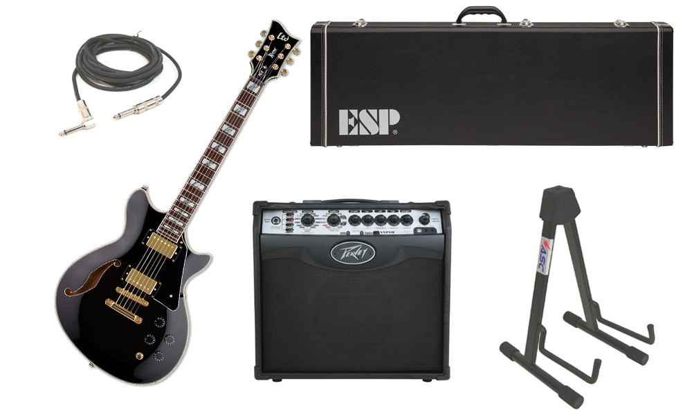 """ESP LTD Xtone Series PC-2 Mahogany Body 6 String Rosewood Fingerboard Black Electric Guitar with Peavey VIP 1 Modeling Amp, 1/4"""" Cable & Stand"""
