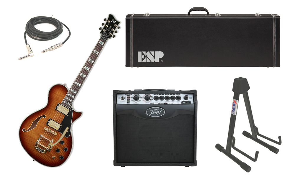 """ESP LTD Xtone Series PC-1V Flamed Maple 6 String Rosewood Fingerboard Brown Sunburst Electric Guitar with Peavey VIP 1 Modeling Amp, 1/4"""" Cable & Stand"""