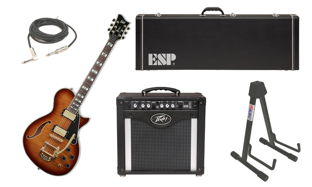 """ESP LTD Xtone Series PC-1V Flamed Maple 6 String Rosewood Fingerboard Brown Sunburst Electric Guitar with Peavey Rage 258 TransTube Amp, 1/4"""" Cable & Stand"""