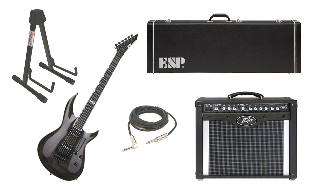 """ESP E-II Horizon-III Flamed Maple Top 6 String See Through Black Electric Guitar with Peavey Envoy 110 Tube Amp, 1/4"""" Cable & Stand"""