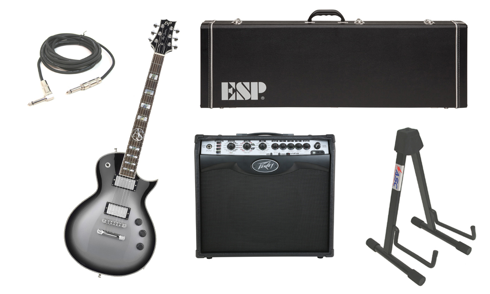 "ESP Signature Alex Skolnick Mahogany Body 6 String Rosewood Fingerboard Silver Sunburst Electric Guitar with Peavey VIP 2 Modeling Amp, 1/4"" Cable & Stand"