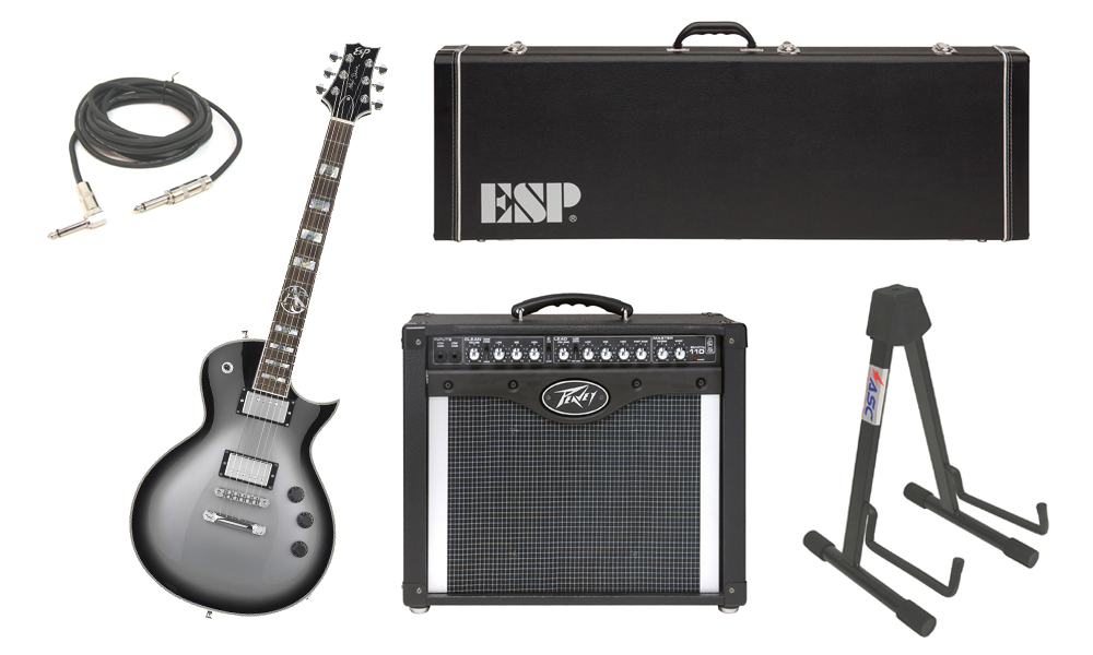 """ESP Signature Alex Skolnick Mahogany Body 6 String Rosewood Fingerboard Silver Sunburst Electric Guitar with Peavey Envoy 110 Tube Amp, 1/4"""" Cable & Stand"""