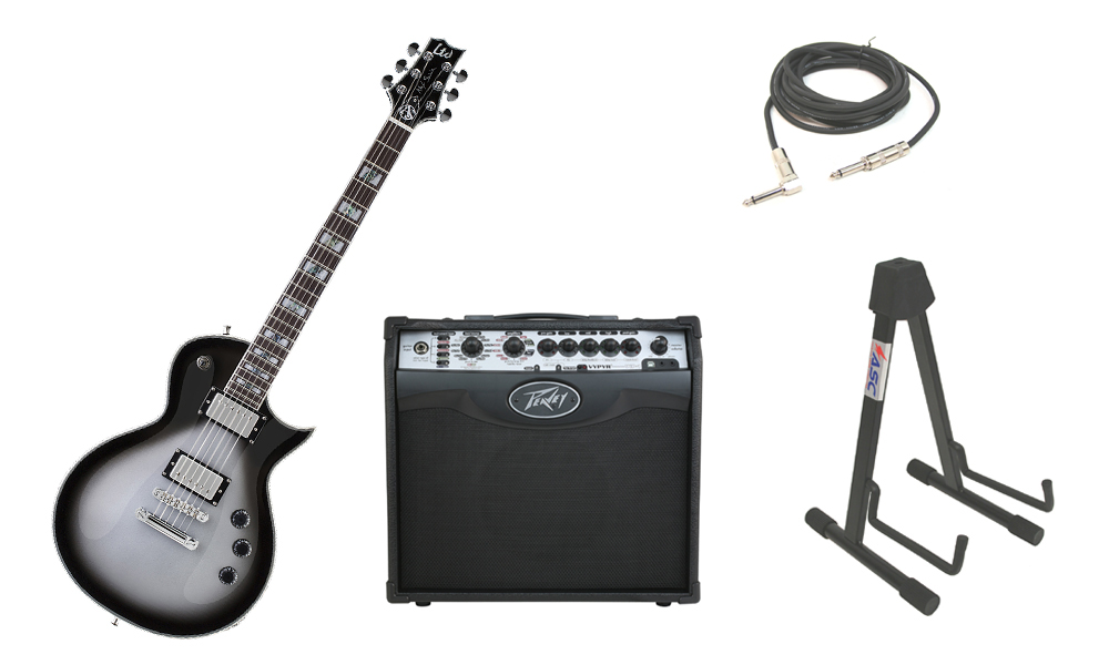 """ESP Signature Alex Skolnick AS-1 Mahogany Body 6 String Rosewood Fingerboard Silver Sunburst Electric Guitar with Peavey VIP 1 Modeling Amp, 1/4"""" Cable & Stand"""