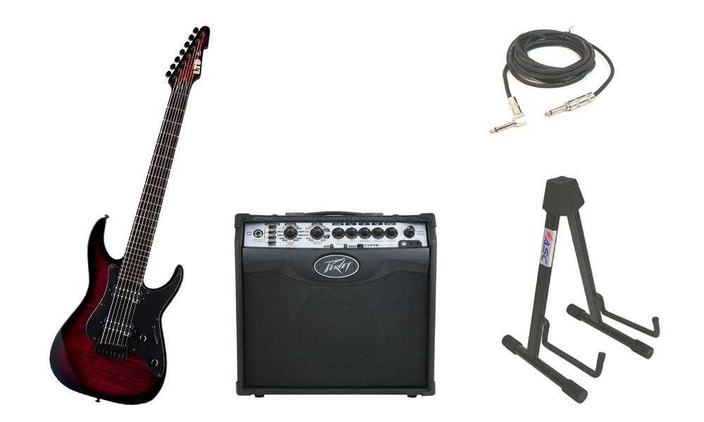 """ESP Signature Alex Wade AW-7 Flamed Maple 7 String Ebony Fingerboard Blood Red Sunburst Electric Guitar with Peavey VIP 1 Modeling Amp, 1/4"""" Cable & Stand"""