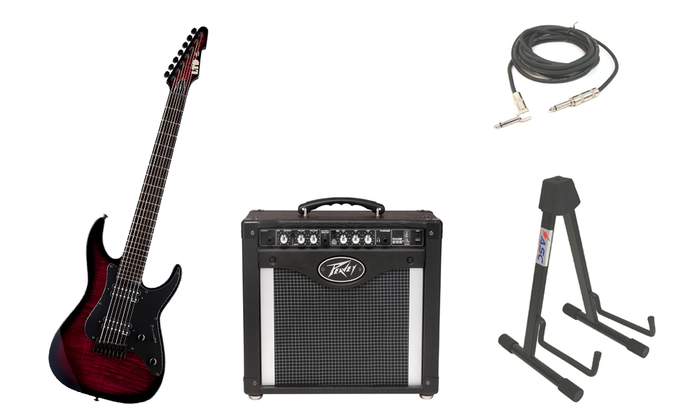 """ESP Signature Alex Wade AW-7 Flamed Maple 7 String Ebony Fingerboard Blood Red Sunburst Electric Guitar with Peavey Rage 258 TransTube Amp, 1/4"""" Cable & Stand"""