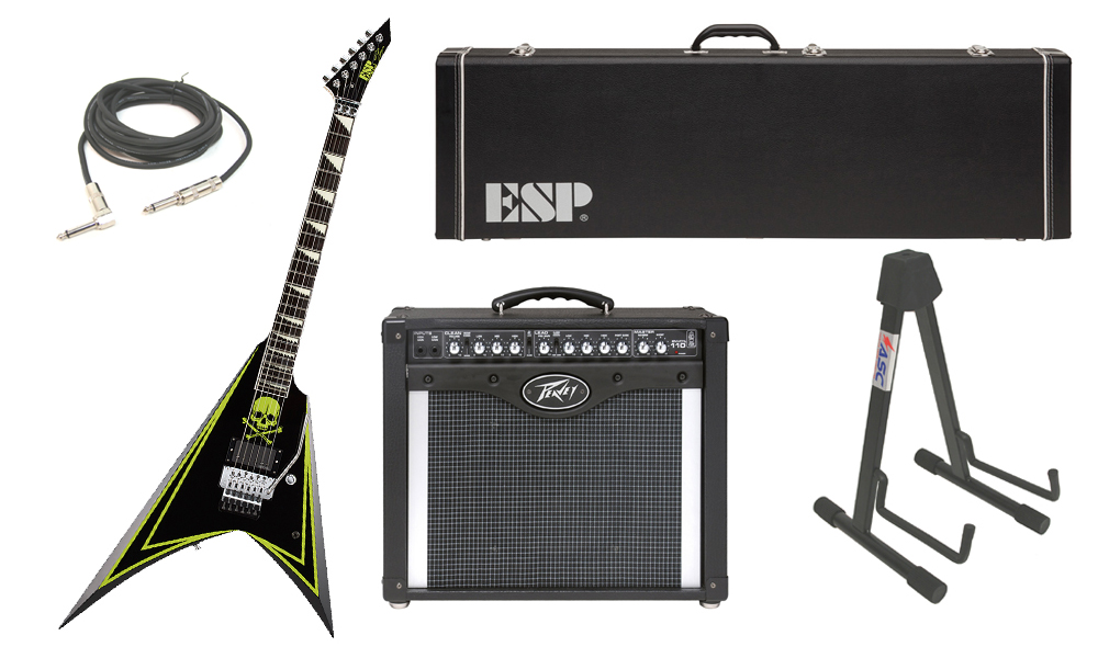 "ESP Signature Alexi Laiho Greeny Alder Body 6 String Ebony Fingerboard Green Skull Electric Guitar with Peavey Envoy 110 Tube Amp, 1/4"" Cable & Stand"