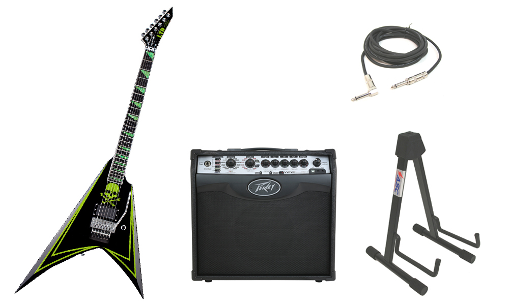 "ESP Signature Alexi Laiho 600 Greeny Alder Body 6 String Ebony Fingerboard Green Skull Electric Guitar with Peavey VIP 1 Modeling Amp, 1/4"" Cable & Stand"