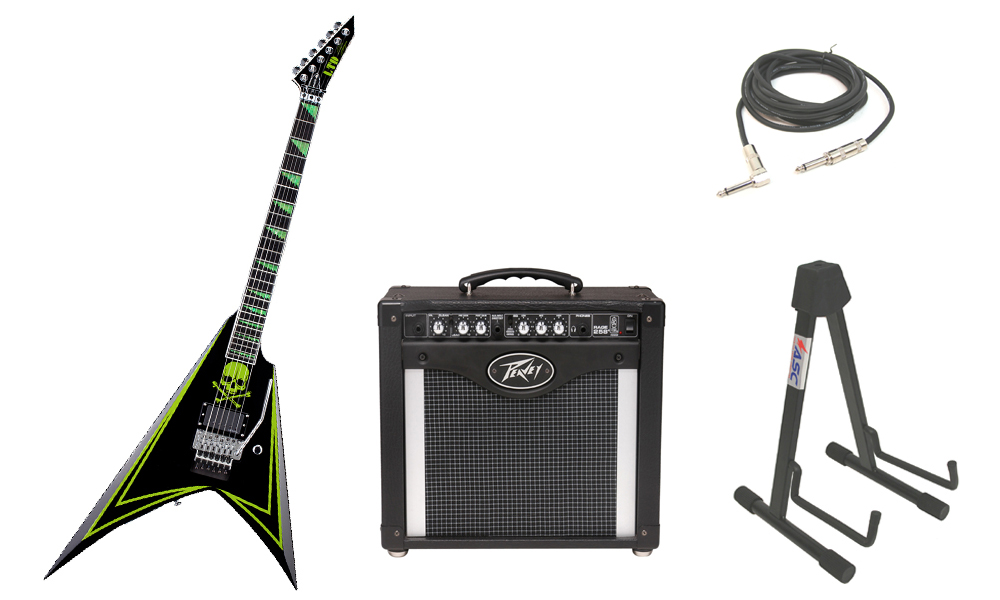"""ESP Signature Alexi Laiho 600 Greeny Alder Body 6 String Ebony Fingerboard Green Skull Electric Guitar with Peavey Rage 258 TransTube Amp, 1/4"""" Cable & Stand"""