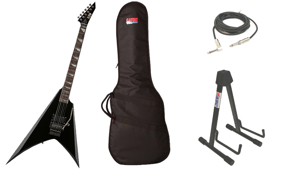 """ESP Signature Alexi Laiho 200 Basswood Body 6 String Rosewood Fingerboard Black Electric Guitar with Travel Gig Bag, Stand & 1/4"""" Cable"""