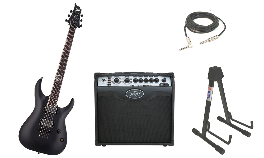 "ESP Signature Andy James AJ-1 Mahogany Body 6 String Rosewood Fingerboard Black Satin Electric Guitar with Peavey VIP 1 Modeling Amp, 1/4"" Cable & Stand"