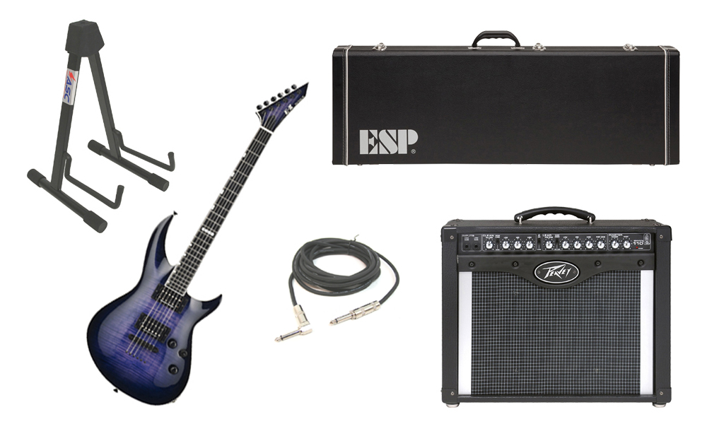 """ESP E-II Horizon-III Flamed Maple Top 6 String Reindeer Blue Electric Guitar with Peavey Envoy 110 Tube Amp, 1/4"""" Cable & Stand"""