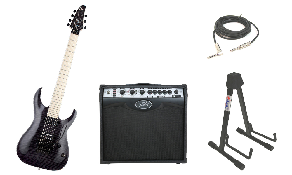 "ESP Signature Ben Savage BS-7 Flamed Maple Top 7 String Maple Fingerboard See Through Black Electric Guitar with Peavey VIP 2 Modeling Amp, 1/4"" Cable & Stand"