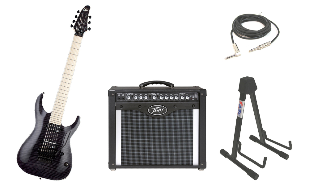 """ESP Signature Ben Savage BS-7 Flamed Maple Top 7 String Maple Fingerboard See Through Black Electric Guitar with Peavey Envoy 110 Tube Amp, 1/4"""" Cable & Stand"""