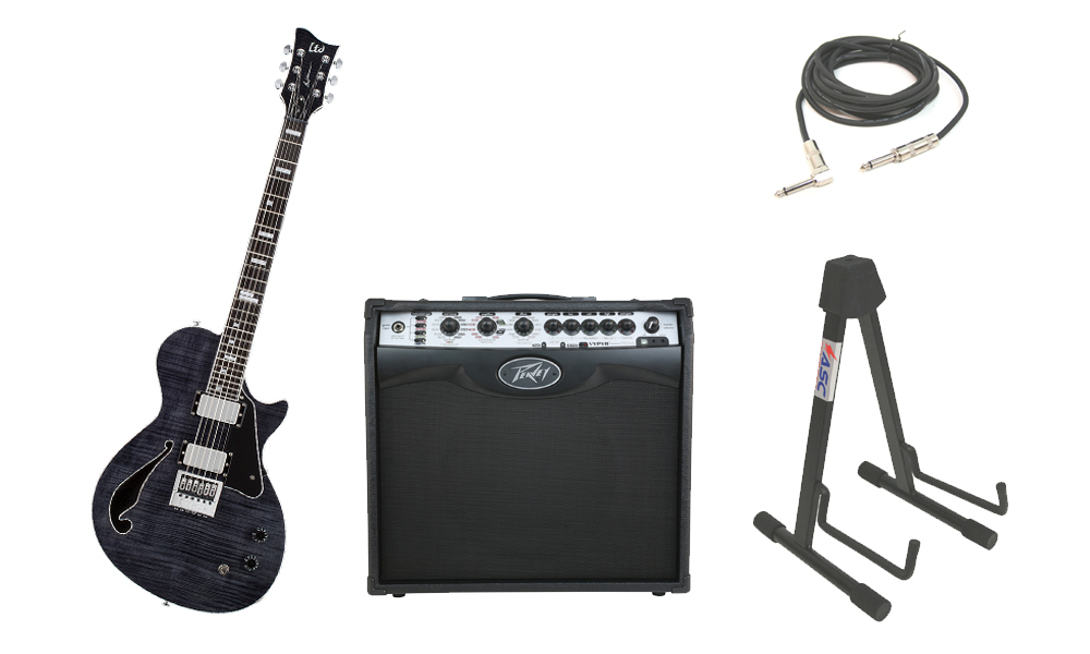 """ESP Signature Ben Weinman BW-1 Flamed Maple Top 6 String Ebony Fingerboard See Through Black Electric Guitar with Peavey VIP 2 Modeling Amp, 1/4"""" Cable & Stand"""