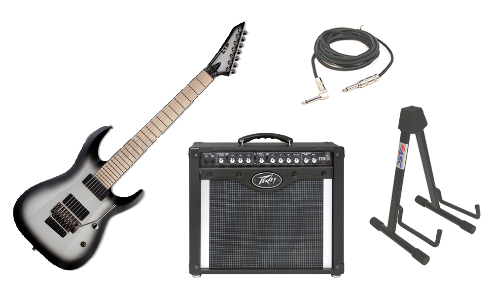 """ESP Signature Buz McGrath BUZ-7 Flamed Maple Top 7 String Maple Fingerboard Snow White Snowburst Electric Guitar with Peavey Envoy 110 Tube Amp, 1/4"""" Cable & Stand"""