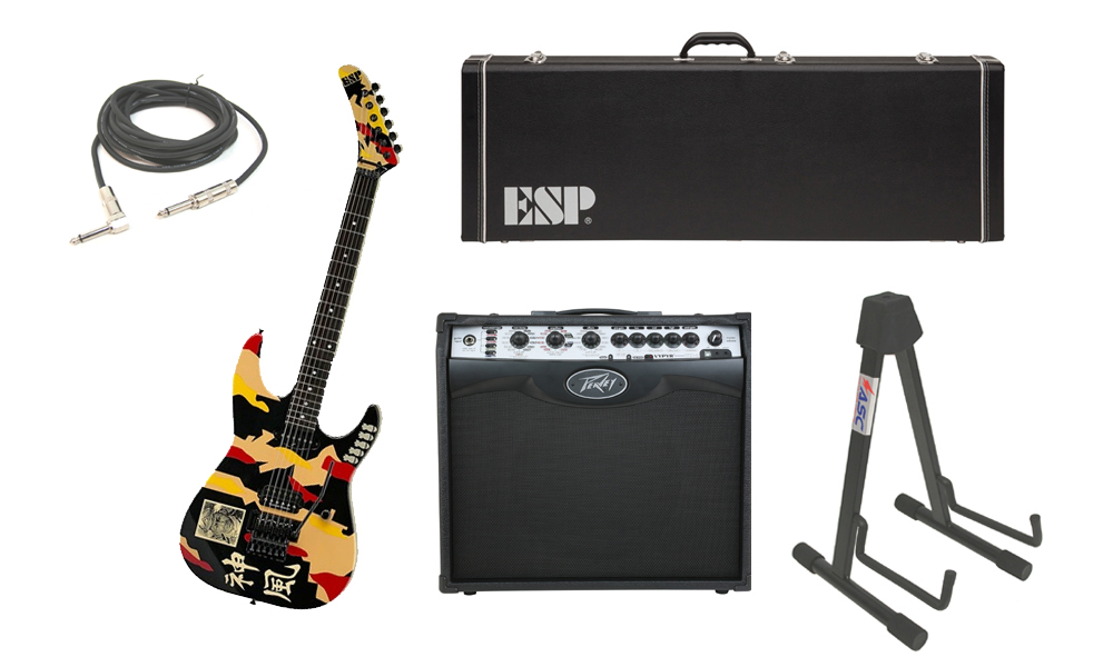 "ESP Signature George Lynch Kamikaze-1 Maple Body 6 String Ebony Fingerboard Kamikaze Graphic Electric Guitar with Peavey VIP 2 Modeling Amp, 1/4"" Cable & Stand"