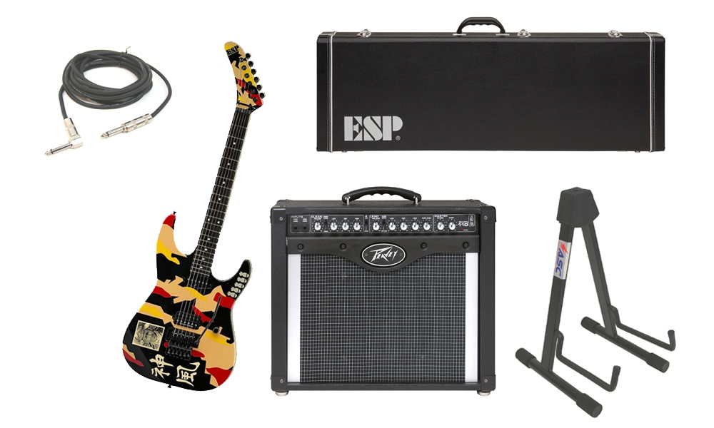 """ESP Signature George Lynch Kamikaze-1 Maple Body 6 String Ebony Fingerboard Kamikaze Graphic Electric Guitar with Peavey Envoy 110 Tube Amp, 1/4"""" Cable & Stand"""