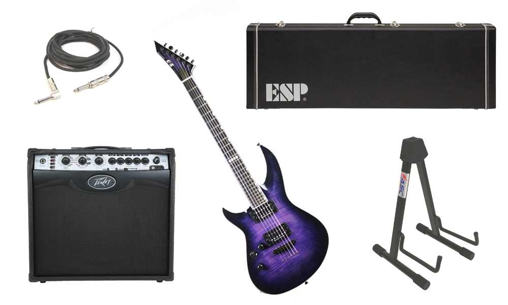 """ESP E-II Horizon-III Flamed Maple Top 6 String Reindeer Blue Electric Guitar (Left Hand) with Peavey VIP 2 Modeling Amp, 1/4"""" Cable & Stand"""