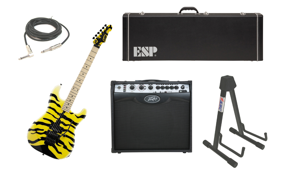 """ESP Signature George Lynch M-1 Tiger Maple Body 6 String Maple Fingerboard Yellow Tiger Graphic Electric Guitar with Peavey VIP 2 Modeling Amp, 1/4"""" Cable & Stand"""
