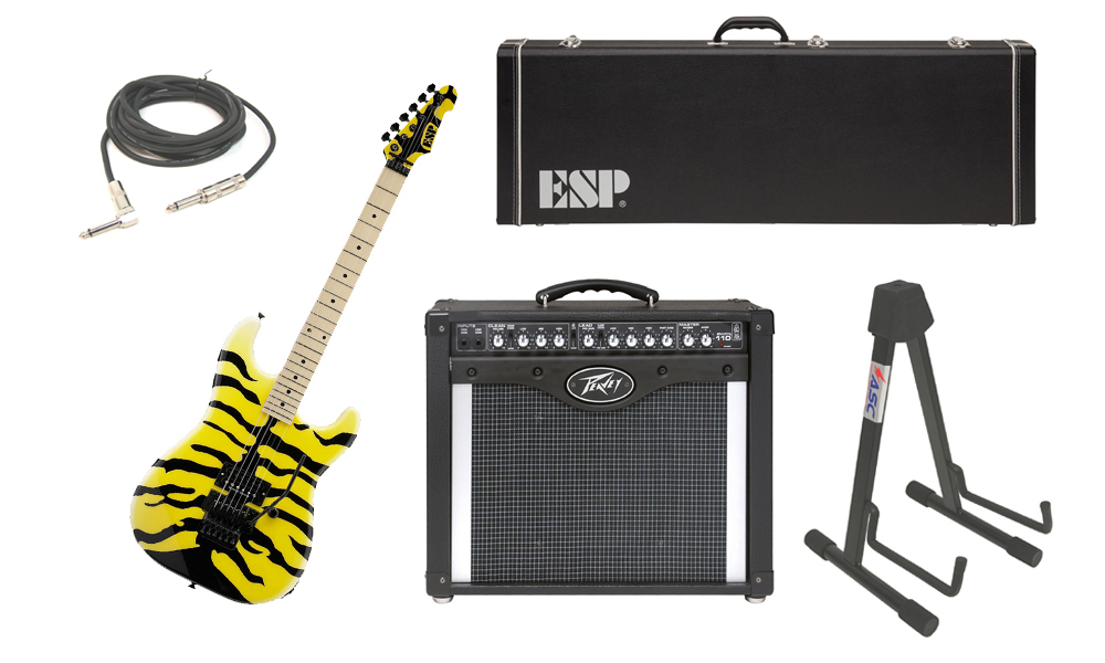 "ESP Signature George Lynch M-1 Tiger Maple Body 6 String Maple Fingerboard Yellow Tiger Graphic Electric Guitar with Peavey Envoy 110 Tube Amp, 1/4"" Cable & Stand"