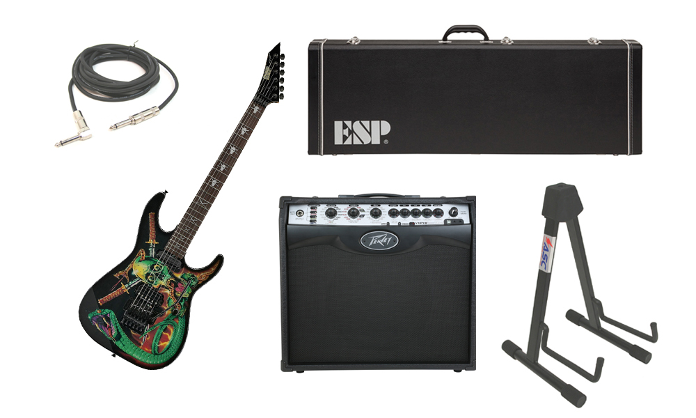 """ESP Signature George Lynch Skulls & Snakes Alder Body 6 String Rosewood Fingerboard Graphic Electric Guitar with Peavey VIP 2 Modeling Amp, 1/4"""" Cable & Stand"""