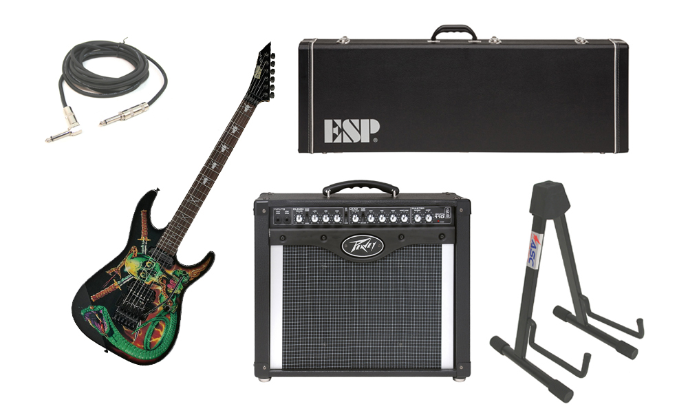 "ESP Signature George Lynch Skulls & Snakes Alder Body 6 String Rosewood Fingerboard Graphic Electric Guitar with Peavey Envoy 110 Tube Amp, 1/4"" Cable & Stand"